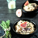 Fig and Goat Cheese Pearl Barley Risotto with Fresh Thyme