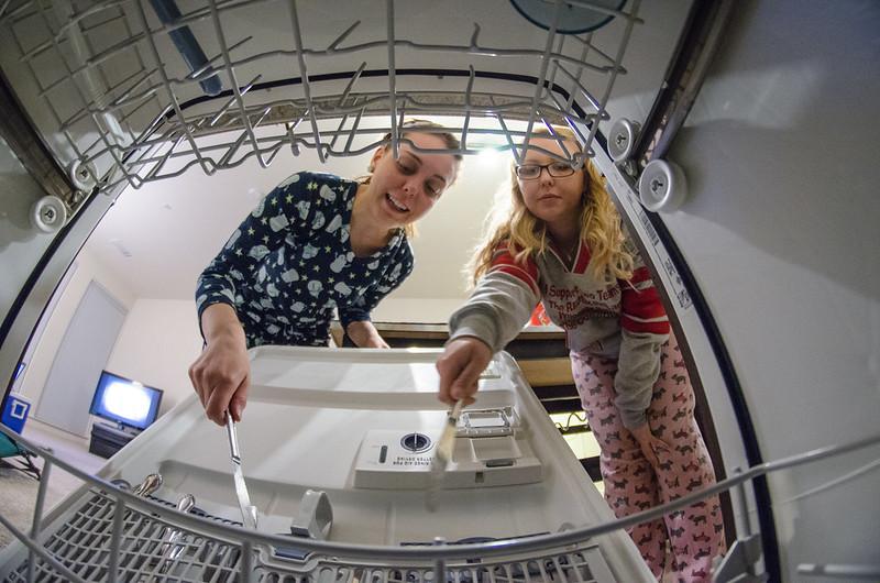 Loading the dishwasher