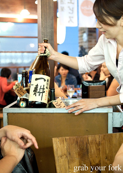 sake trolley at yebisu izakaya, regent place sydney