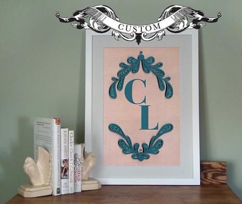 quilled monogram print