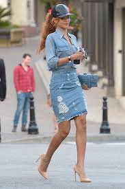 Rihanna Denim Shirt Celebrity Style Women's Fashion