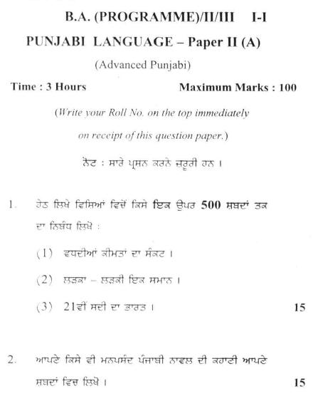 DU SOL B.A. Programme Question Paper - Punjabi Langauge (A) - Paper IX