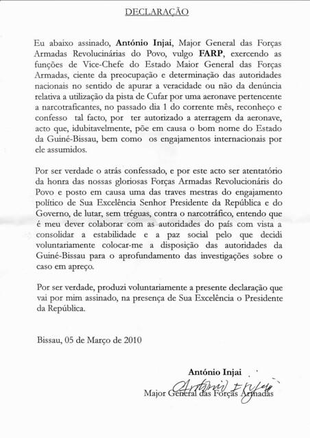 Confissão António Indjai