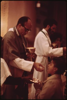 Holy Angel Catholic Church On Chicago's South Side. It Is Chicago's Largest Black Catholic Church. The Pastor (foreground) Is Father George H. Clements, A Leader In The Black Community, 10/1973