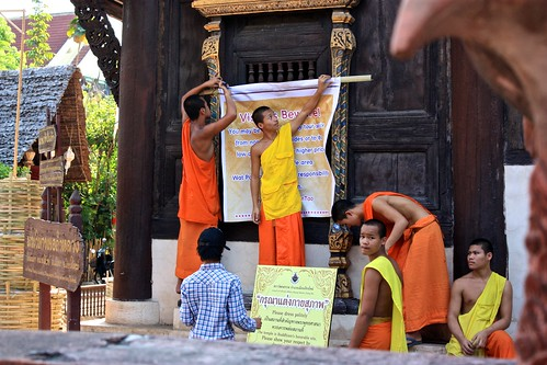 unfortunately, these monks had to put up signs all over the monastery warning about well dressed men trying to rip off tourists