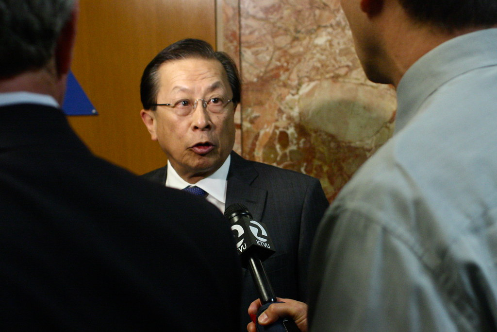 Stephen Cheung's attorney Garrick Lew declines press comments while exiting the Hall of Justice on Wednesday, April 24, 2013. Stephen Cheung and former SF State Director Robert Shearer's arraignment was rescheduled for Friday afternoon. Photo by Gabriella Gamboa / Xpress