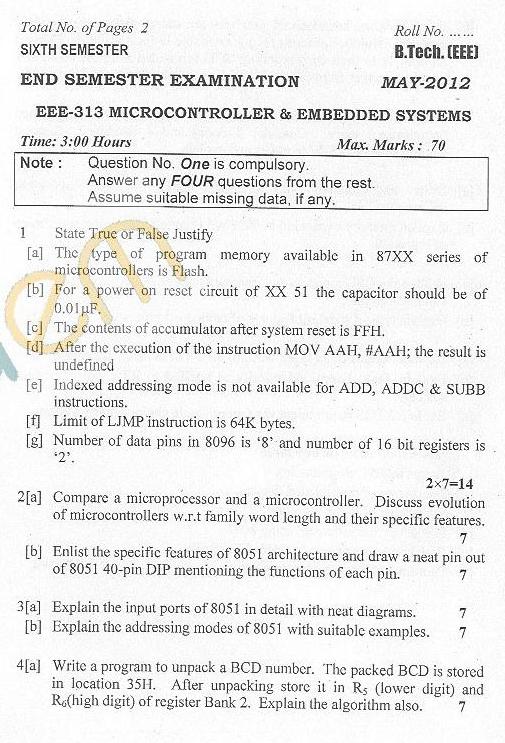 DTU Question Papers 2012 - 6 Semester - End Sem - EEE-313