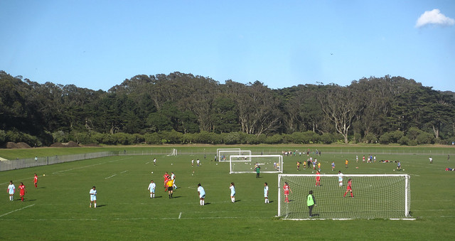 Soccer practice at Polo Fields in Golden Gate Park, San Francisco.  April 16, 2013