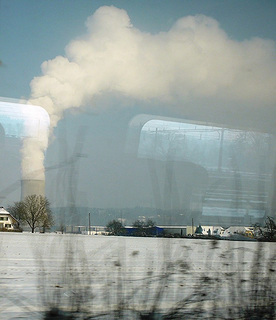 Gösgen Nuclear Power Plant through train window