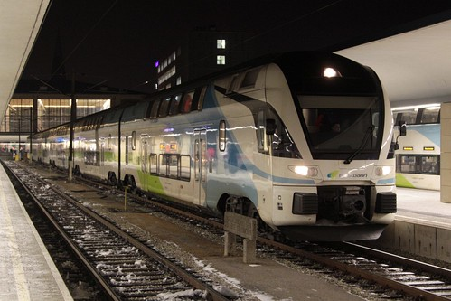 Westbahn operated Stadler 'KISS' double deck trainset waiting for the new service to Salzburg