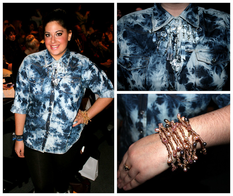 nyfw, tie dye denim shirt, crystal necklace, beaded bracelet