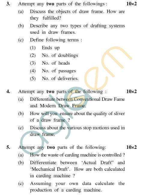 UPTU B.Tech Question Papers - T-401 - Yarn Manufacture-II