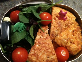 pasta frittata and spinach salad