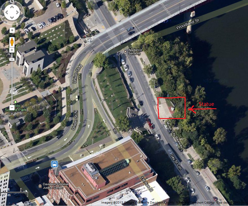 Timothy Demonbreun Statue Google Arial View