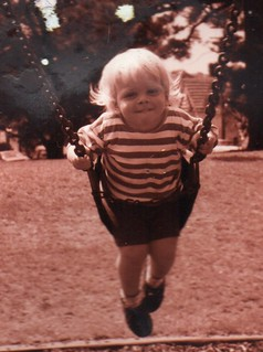 Adam, aged 3, on a swing in Ashfield