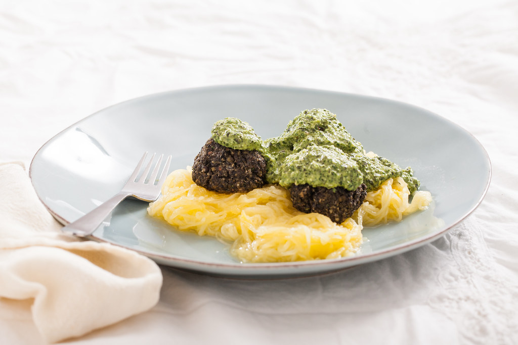 Lentil Meatballs & Spaghetti Squash with Lemon Pesto