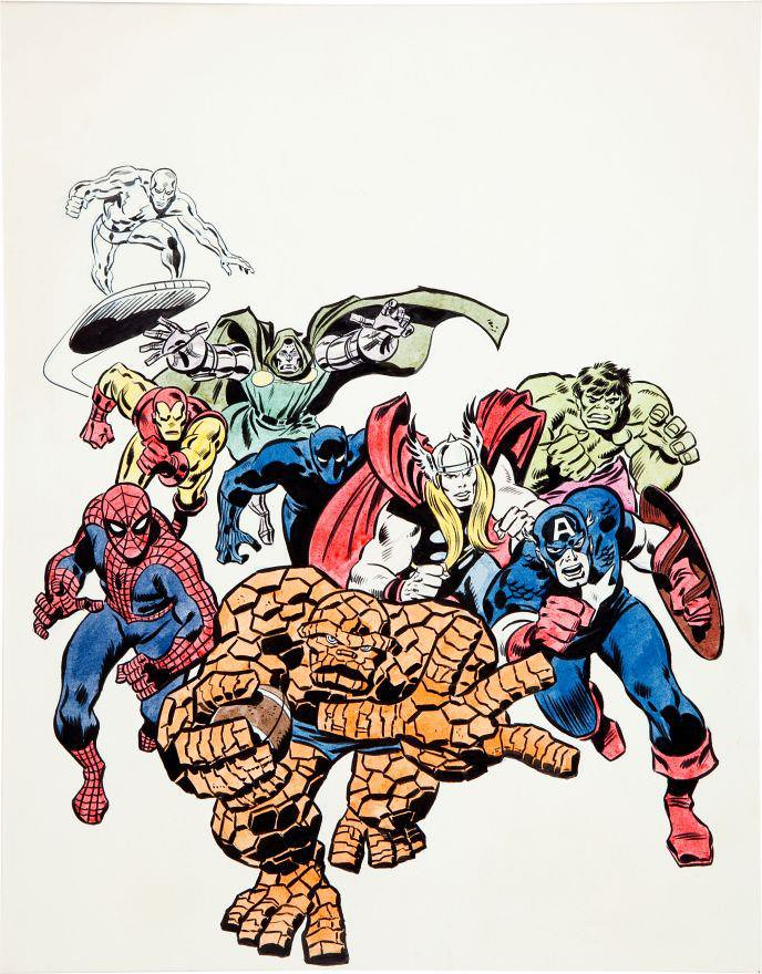Thing and Marvel Heroes by John Buscema