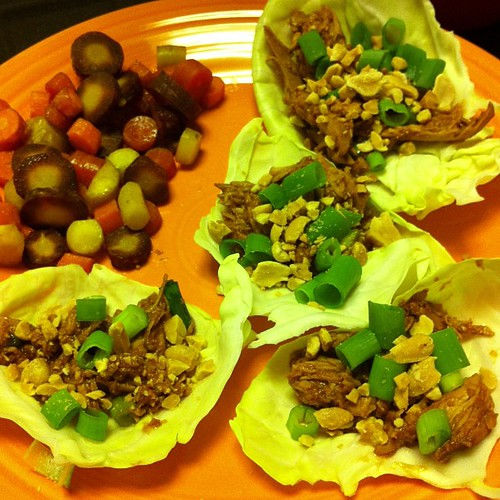 Leftover Facelift... Lettuce {Cabbage} Wraps with Roasted Carrots #wfd