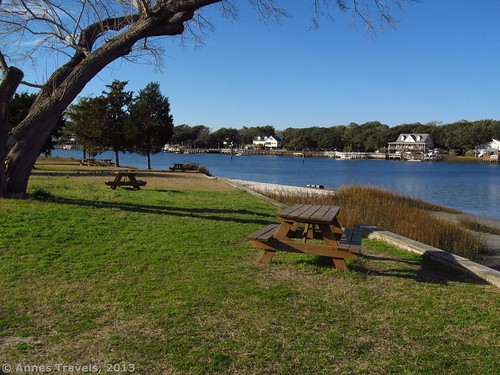 Picnic tables along the Intercoastal Waterway at Sailfish Street Park, Holden Beach, North Carolina