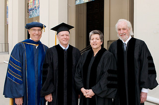 President David Oxtoby and 2010 Commencement speakers Robert Price '64, Janet Napolitano and Robert Towne '56