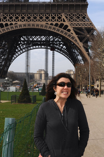Preparing to climb 667 steps to the second floor of the Eiffel Tower!