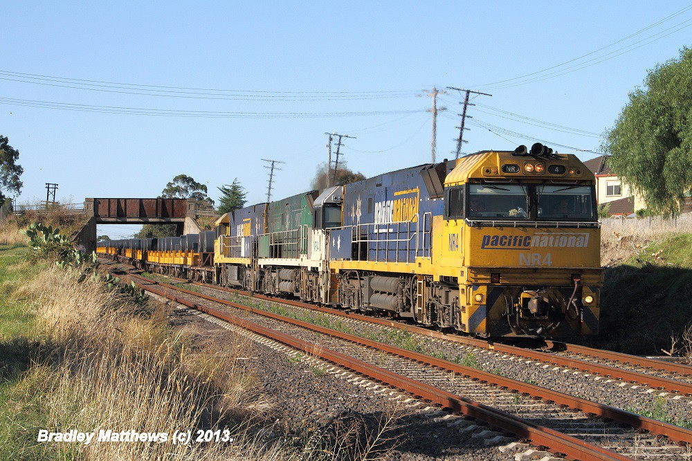 NR4-NR84 (SS)-NR115 on 3WM2 steel train to Melbourne at Glenroy (26/3/2013) by Bradley Matthews