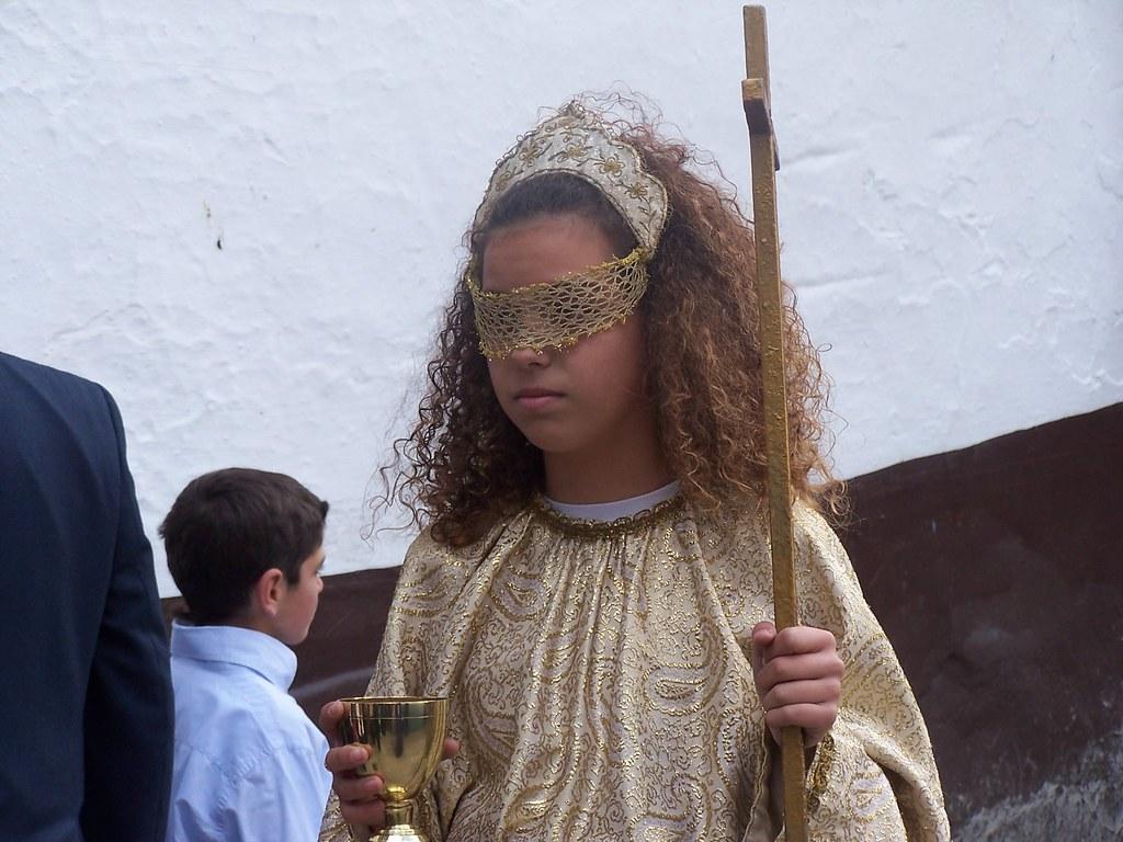 La procesión de Padre Jesús mantiene una representación de El Paso, con la Magdalena, la Verónica, la Fé, la esperanza o la caridad. FOTO: ÁNGEL MEDINA LAÍN