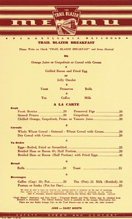 Trail Blazer Breakfast Menu, Pennsylvania Railroad, 1940