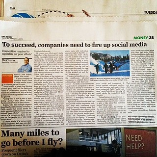 #snowcial: @ChrisHeuer @Armano and @deaneckles quoted in USA Today on using social media to engage with your customers. In print on 03/05/13 (Page 3B) and online at http://usat.lyWEAv3n)