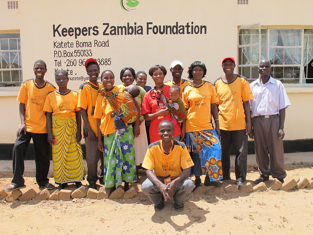 Promoters outside the KZF Office in Katete