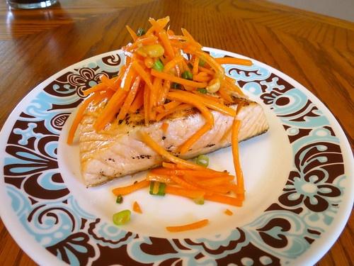 Michael Symon's Grilled Salmon with Shaved Carrot and Peanut Salad