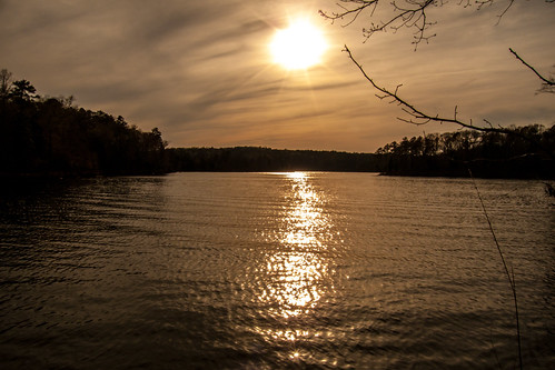 sunset lake water backlight landscape nc carolina jodan