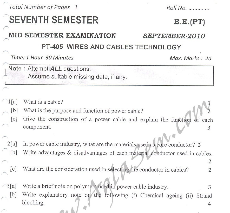DTU Question Papers 2010 – 7 Semester - Mid Sem -  PT-405