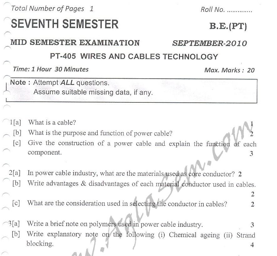 DTU Question Papers 2010 – 7 Semester - Mid Sem - PT-405