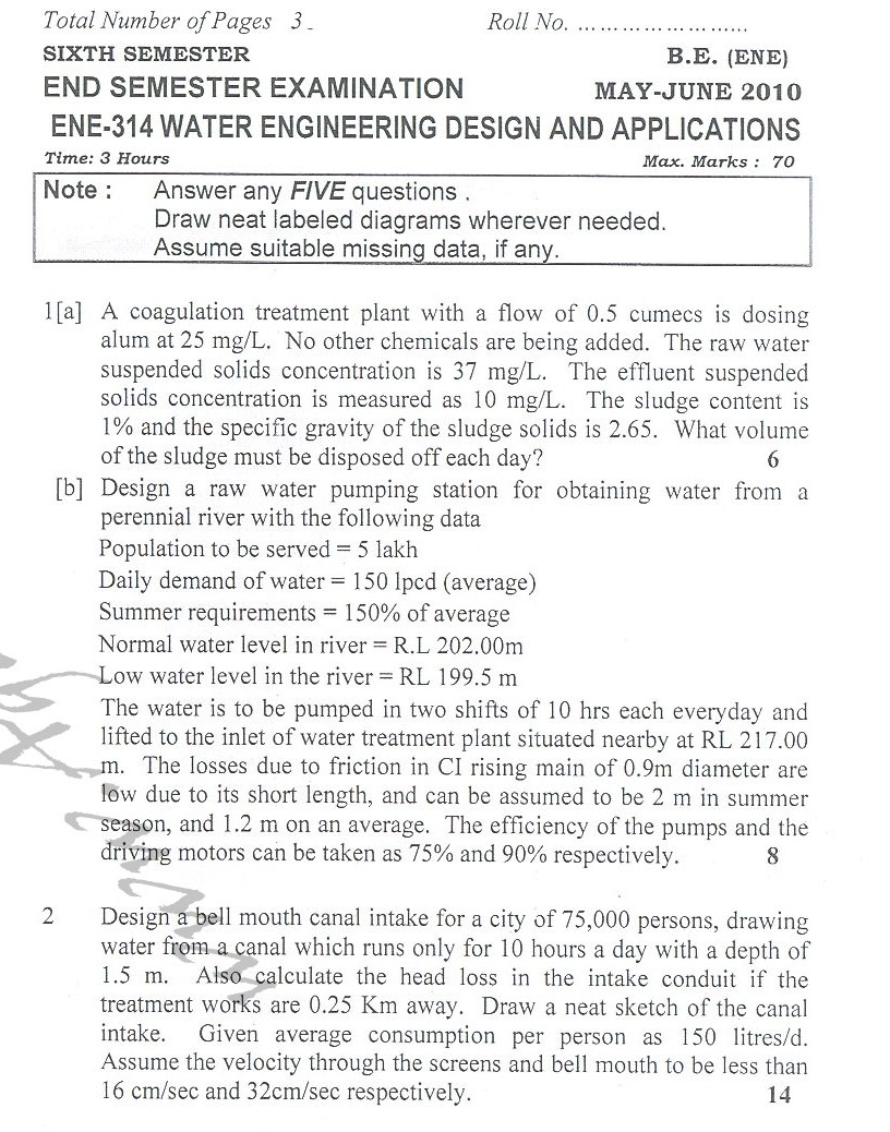 DTU Question Papers 2010 – 6 Semester - End Sem - ENE-314