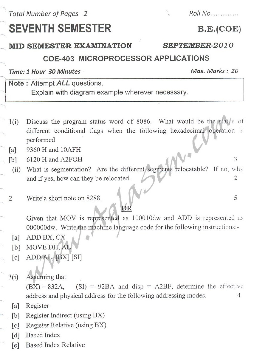 DTU Question Papers 2010 – 7 Semester - Mid Sem -  COE-403