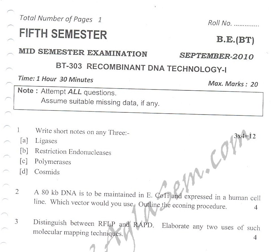 DTU Question Papers 2010 – 5 Semester - Mid Sem - BT-303
