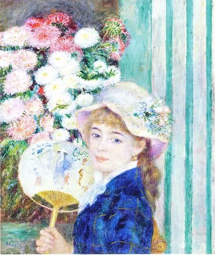 ピエール=オーギュスト・ルノワール「うちわを持つ少女」の一部 クラーク・コレクション (ポストカード) by Poran111