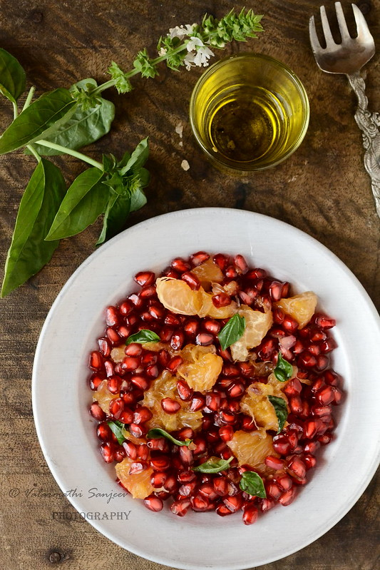 Pomegranate,Orange, basil Salad