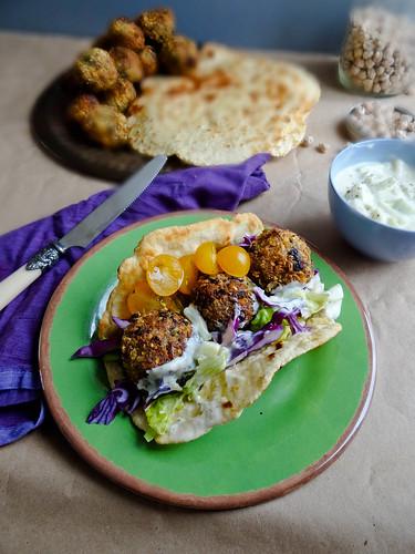 falafel // homemade flatbreads + tzatziki