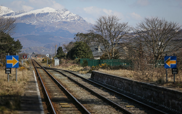 Railway Line And Snowy Mountain