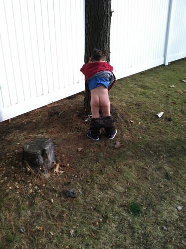 Peeing outside pub