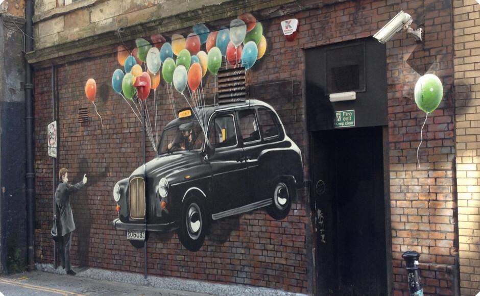 taxi street art Glasgow