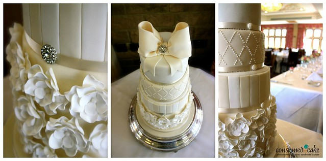 Ivory & White Bow & Ruffle Flower Wedding Cake