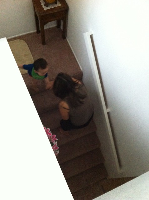 Down the stairs with Aunty Susan