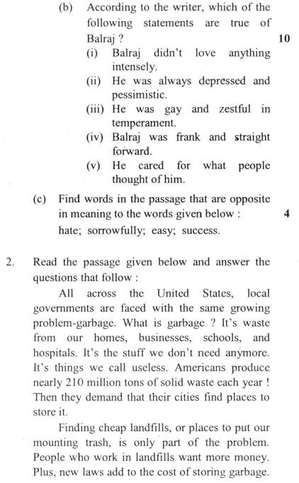 DU SOL B.A. Programme Question Paper -  English C -  PaperI