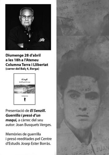 """presentació llibre del maqui Joan Busquets """"el senzill"""" 28 abril a Berga"""
