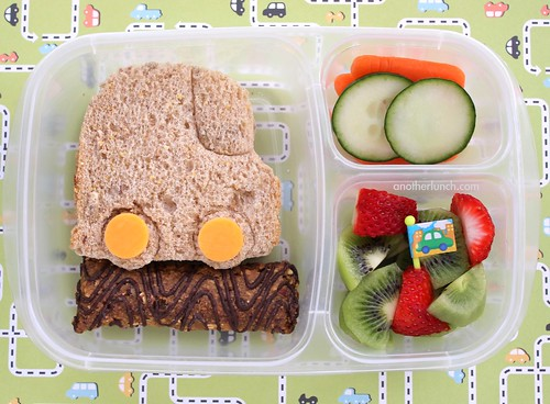 EasyLunchboxes Preschool Lunch - car sandwich, organic Z bar, carrots & cucumbers, fruit salad. Beep beep!