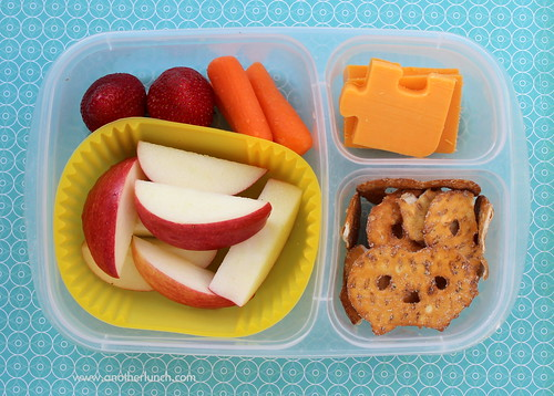 EasyLunchboxes - snacky lunch - organic apples, strawberries, carrots, cheddar cheese & pretzel chips