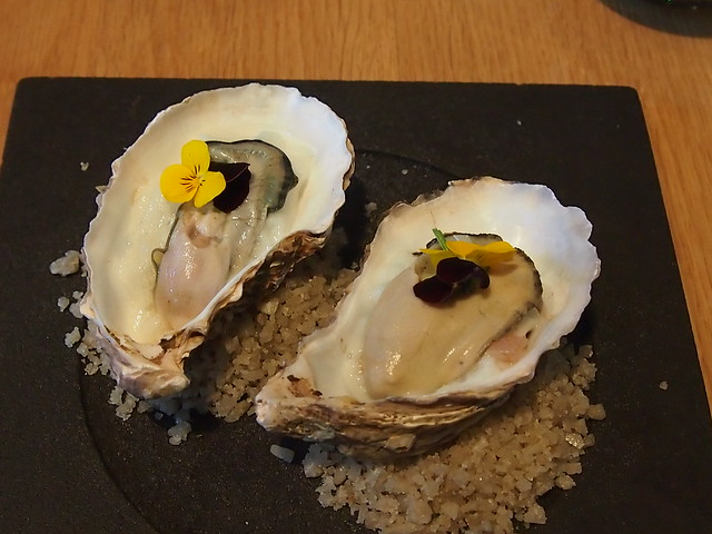 Poached Cornish rock oysters, Granny Smith, shallots